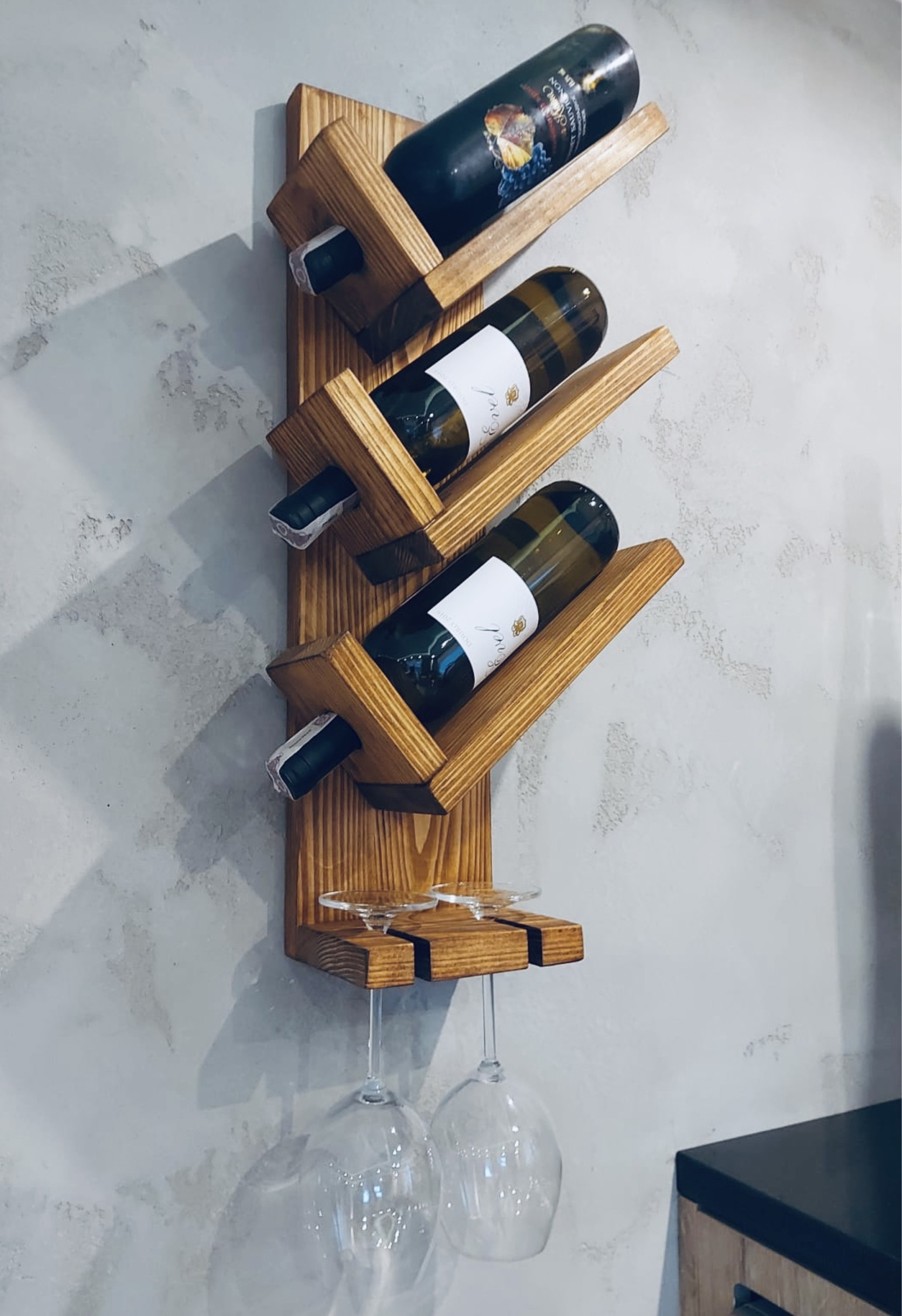 Rustykalna półka na wino i kieliszki PROMOCJA!!