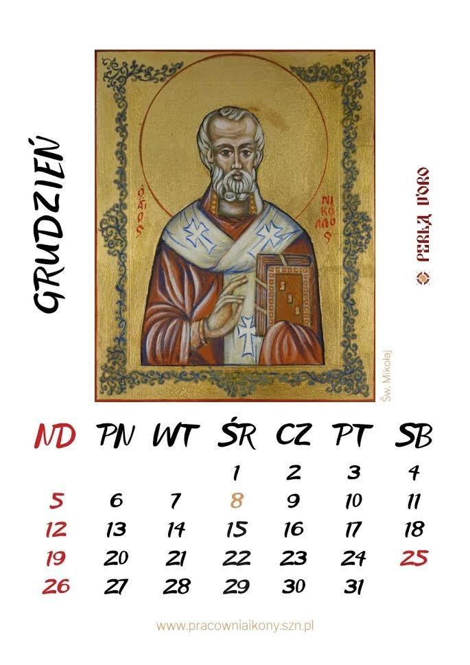 Kalendarz 2021 z ikonami pracowni Perla d'Oro