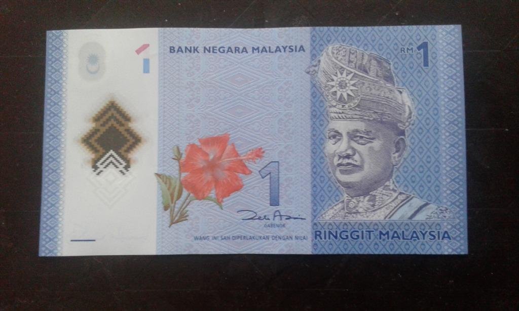 1 ringgit banknot Malezja polimer