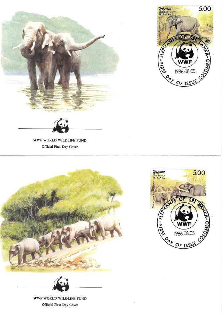 Zestaw 4 kopert WWF Słonie Sri Lanka nr 69