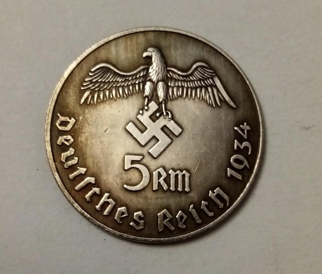 Moneta 5 marek 1934 III Rzesza