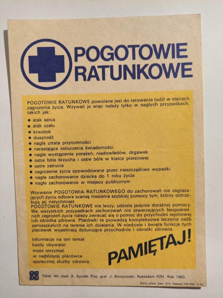Ulotka - Pogotowie Ratunkowe 1982