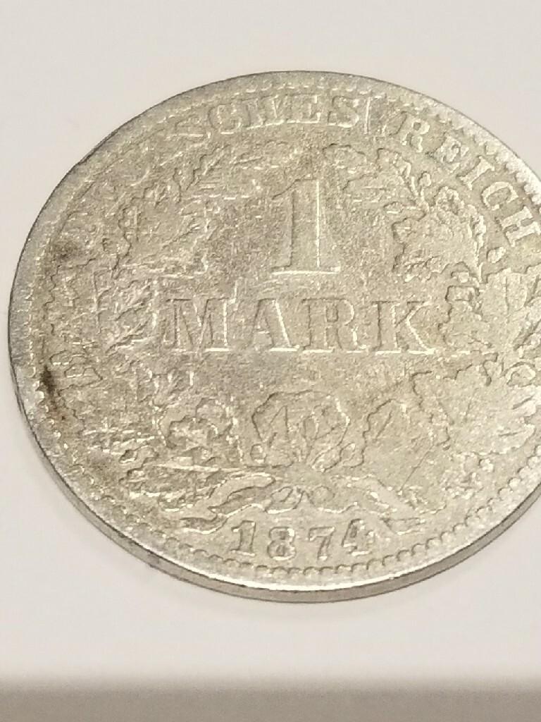 1 marka 1874 D srebrna moneta.Ładny stan menniczy