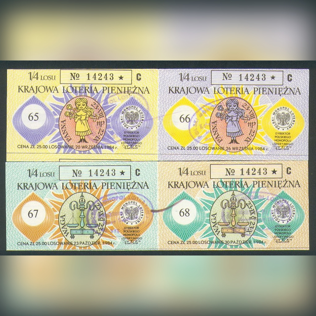 4 Losy nr 65-68 Krajowa Loteria Pieniężna - 1984r