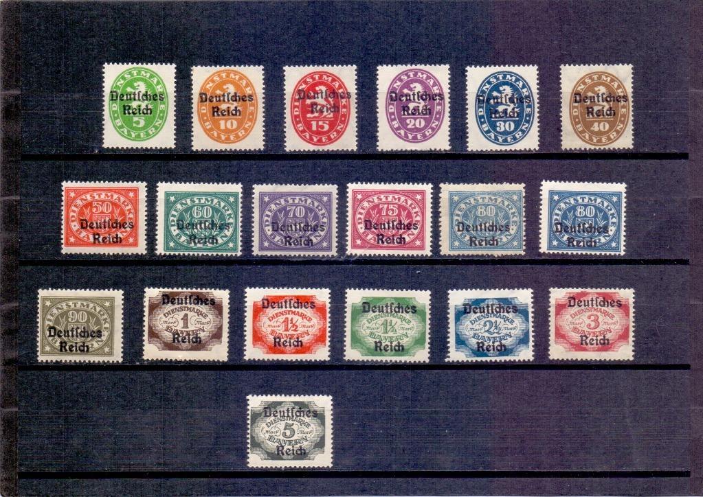 Niemcy znaczki urzędowe seria MI D34-D51 czyste*