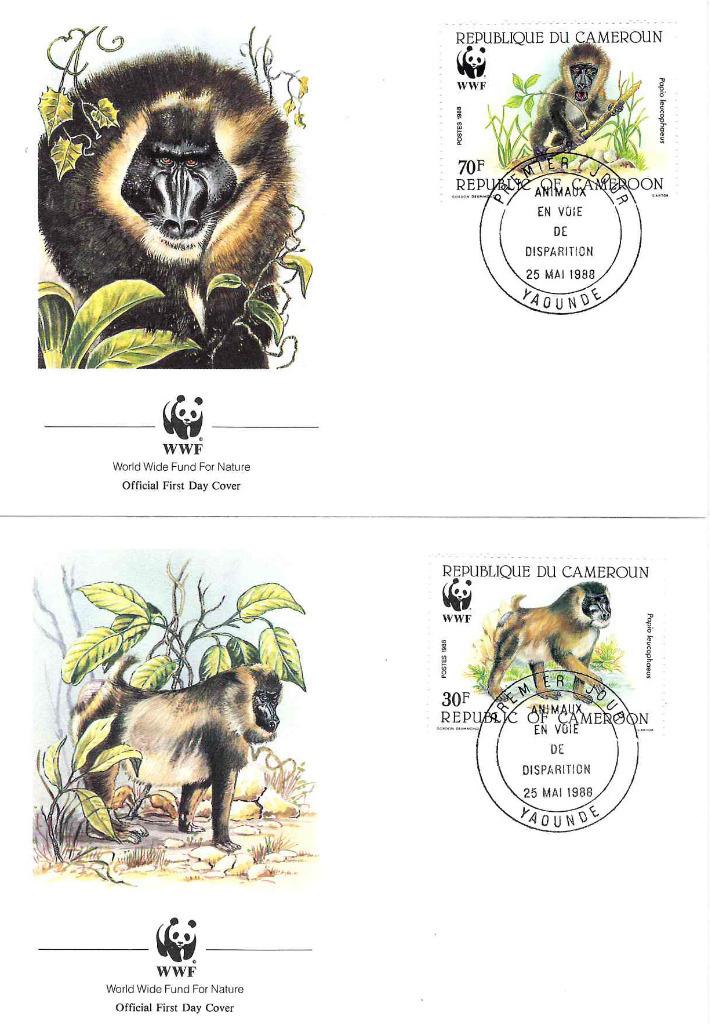 Zestaw 4 kopert WWF Kamerun nr 74