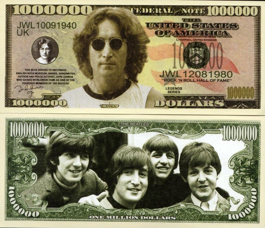 JOHN LENNON The Beatles milion dolarów banknot