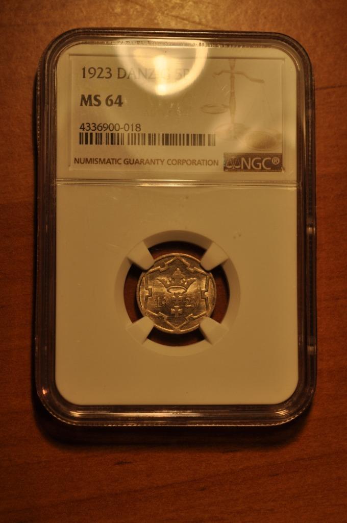 WMG 5 fenigów 1923 NGC MS64 PIĘKNE