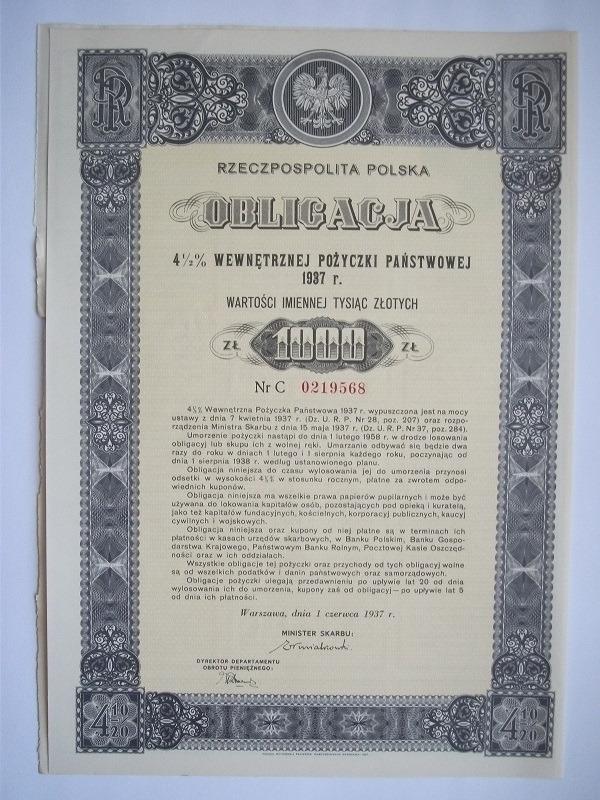 ВНУТРЕННИЕ ОБЛИГАЦИИ -1000 злотых 1937 г.