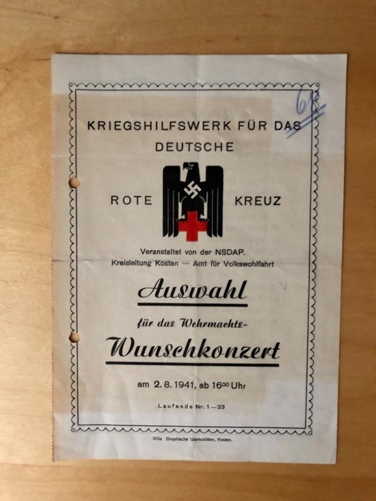 Koncert Kriegshilfswerk Kościan Kosten 1941