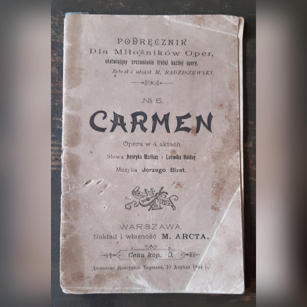 Carmen - Podręcznik, Warszawa 1894.