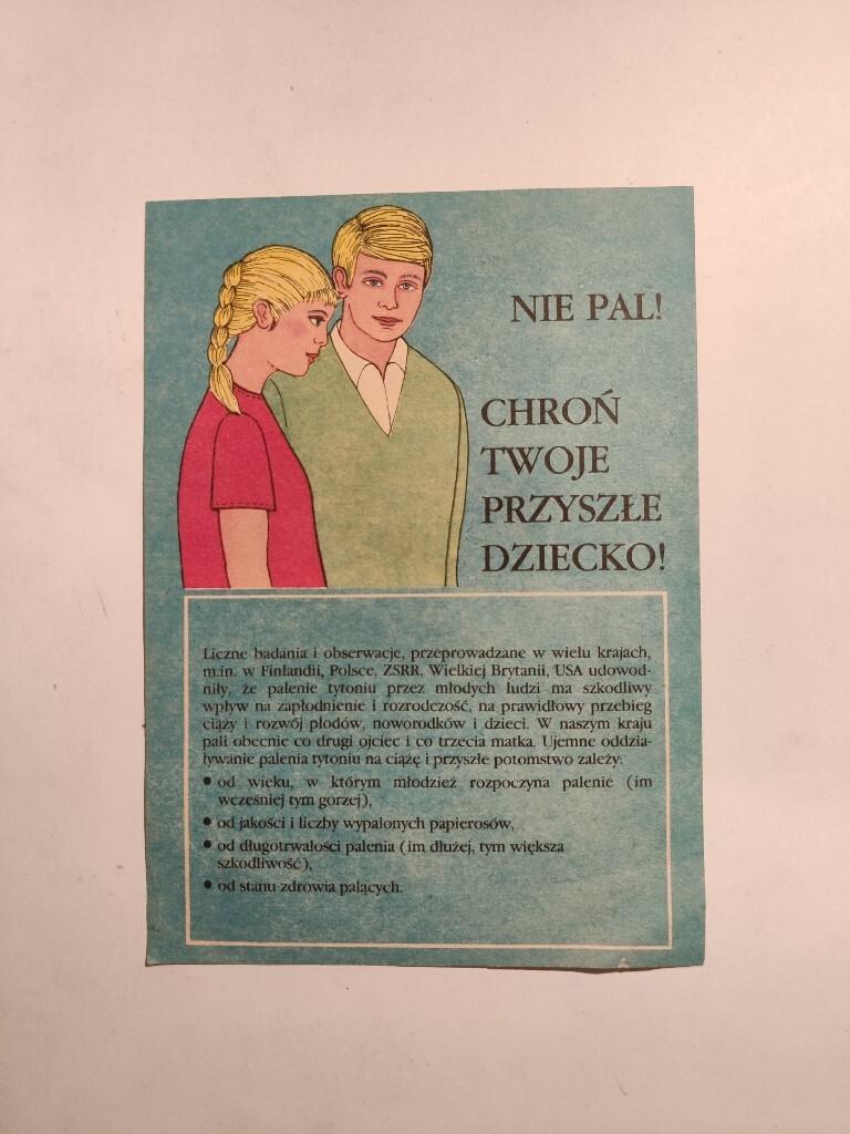 Ulotka - Nie pal! 1986