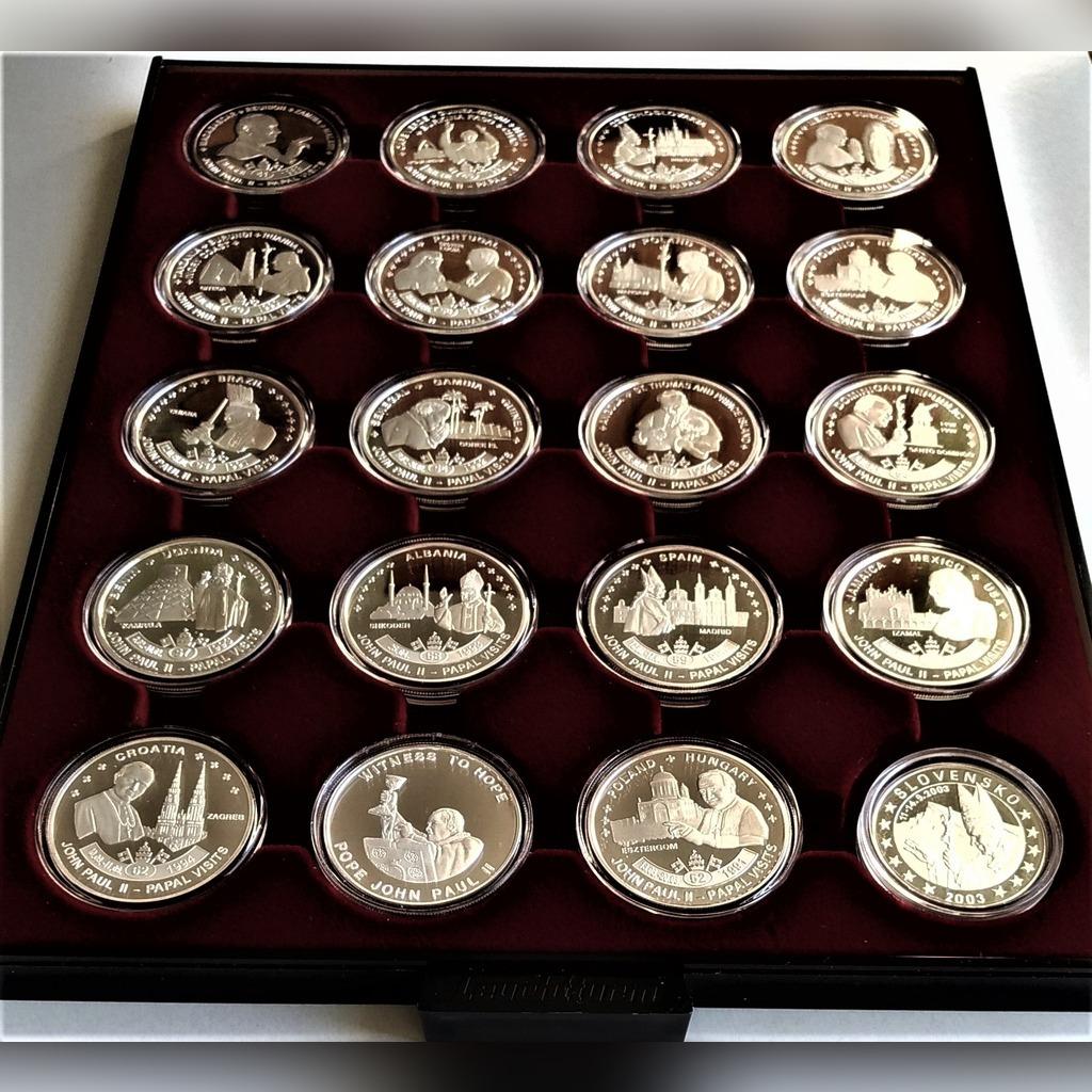 Kolekcja monet z Pielgrzymek JP II-platerowane  Ag