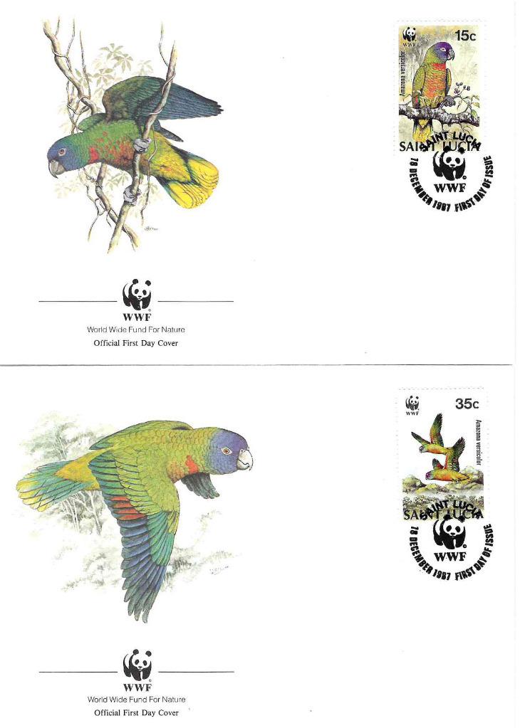 Zestaw 4 kopert WWF Saint Lucia nr 72