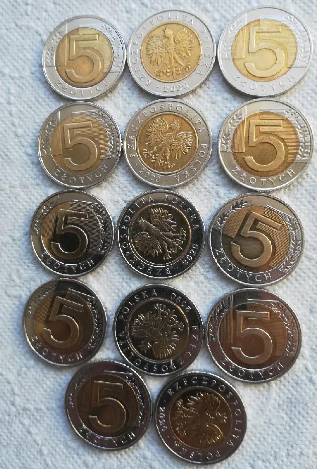 Набор из 14 монет 5 злотых 2020 + мешок 1г 2020