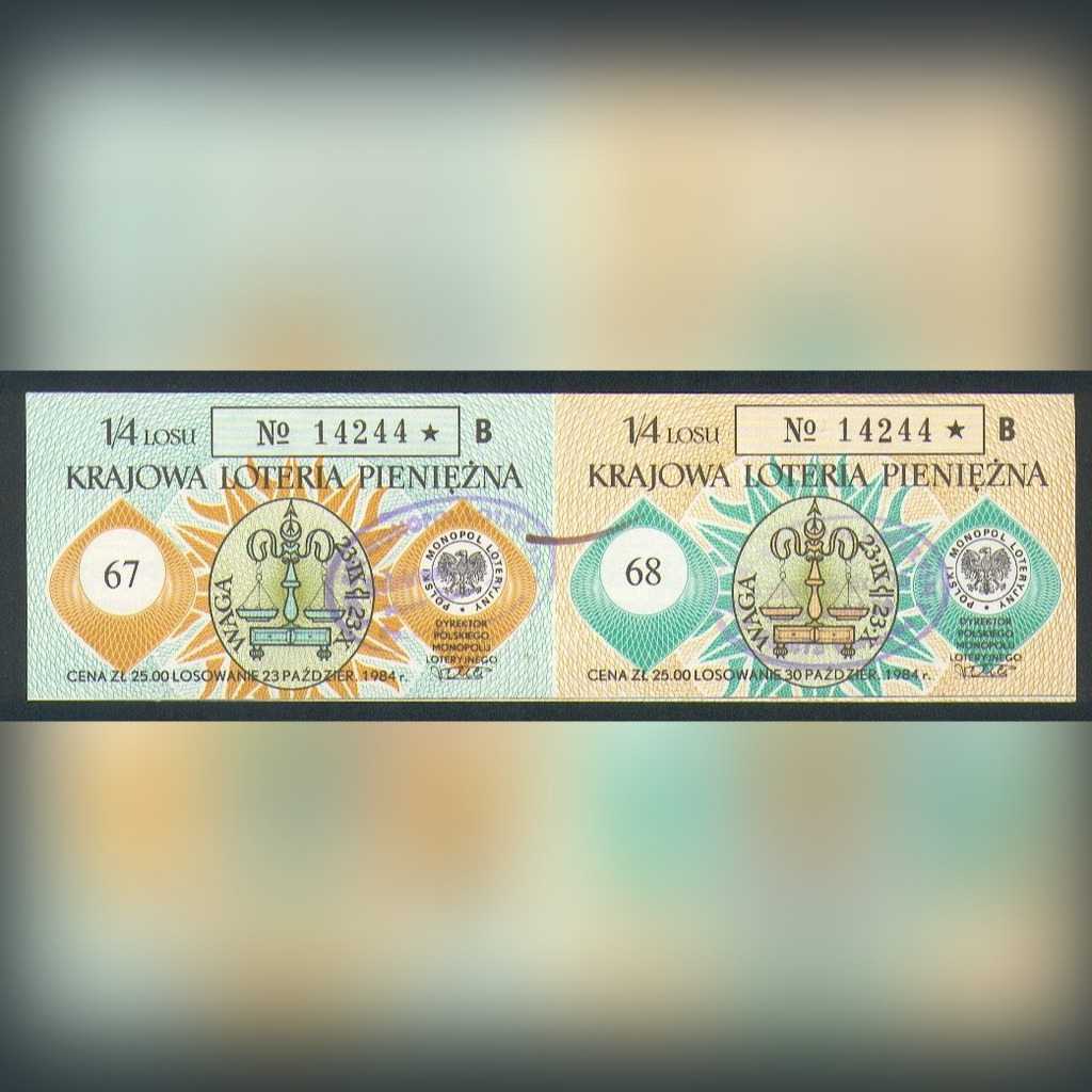 2 Losy nr 67-68 Krajowa Loteria Pieniężna - 1984r