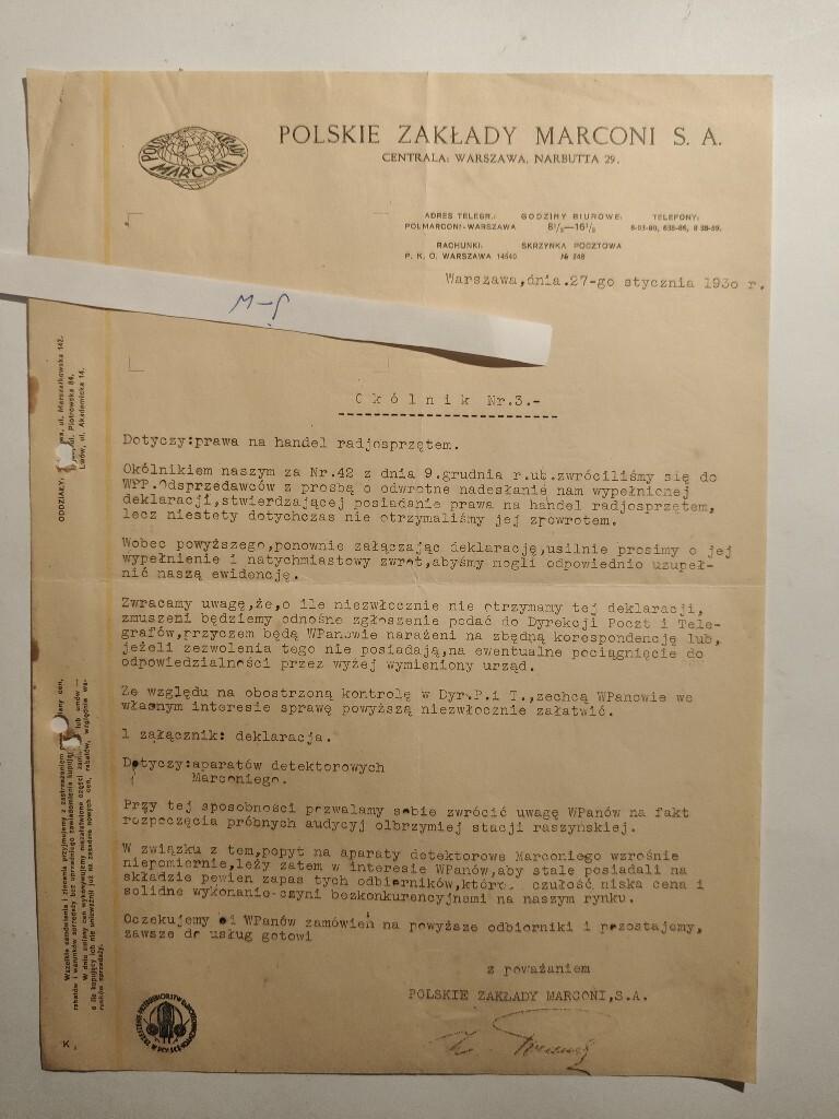Okólnik Nr.3 Polskie Zakłady MARCONI 1930 Warszawa