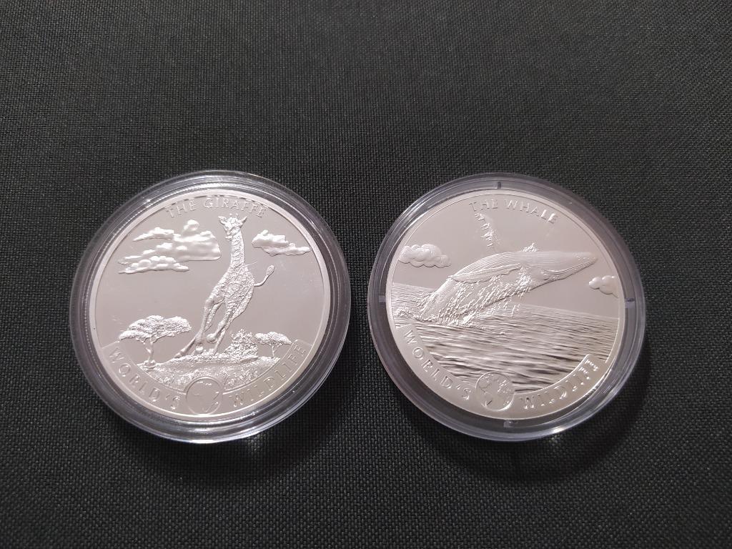 Congo Żyrafa 1 oz i Waleń 1oz srebro 999