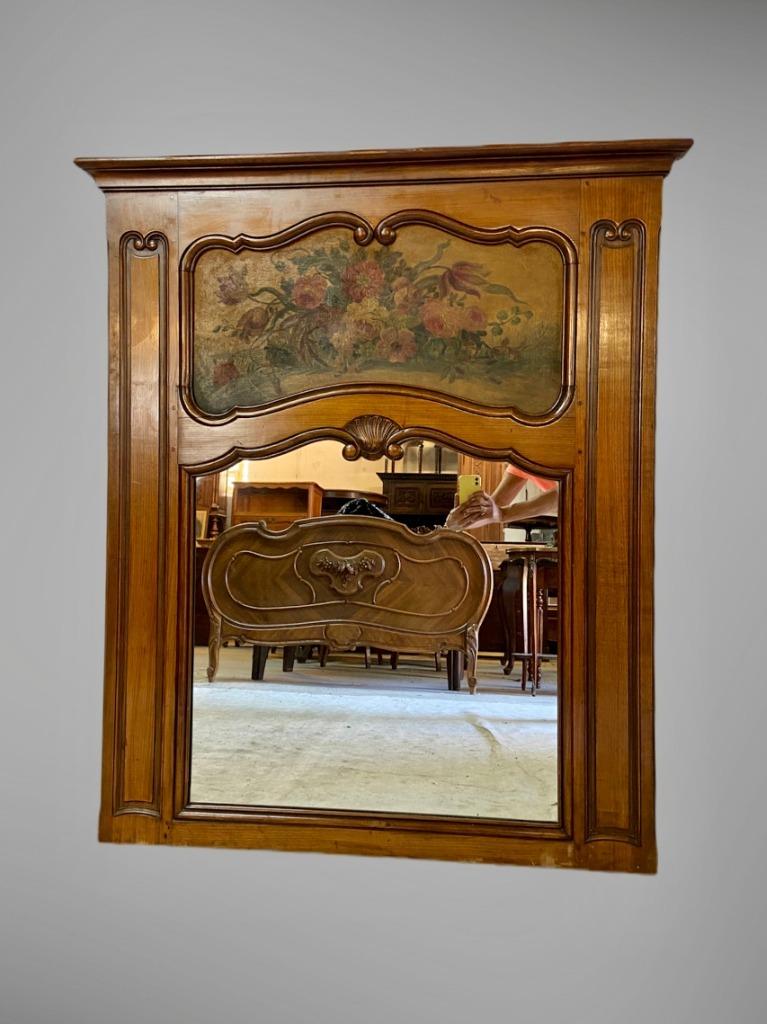 Piękne duże lustro z obrazem Ludwik XV Francja XIX
