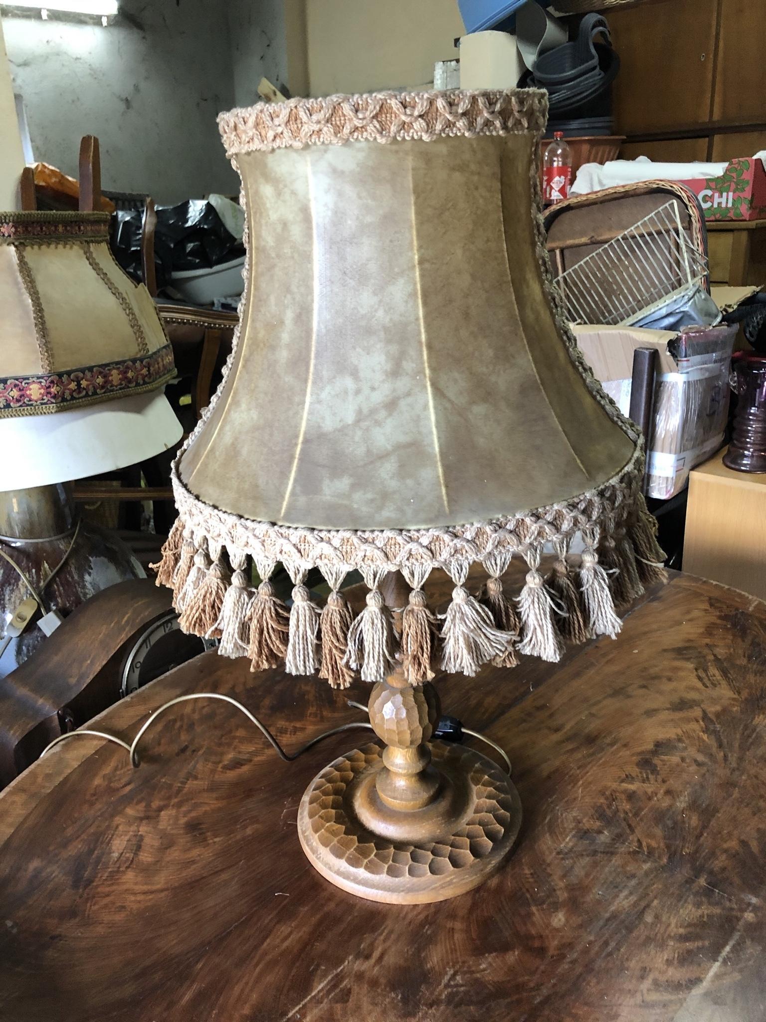 Drewniana lampa, skórzany abażur, vintage, retro