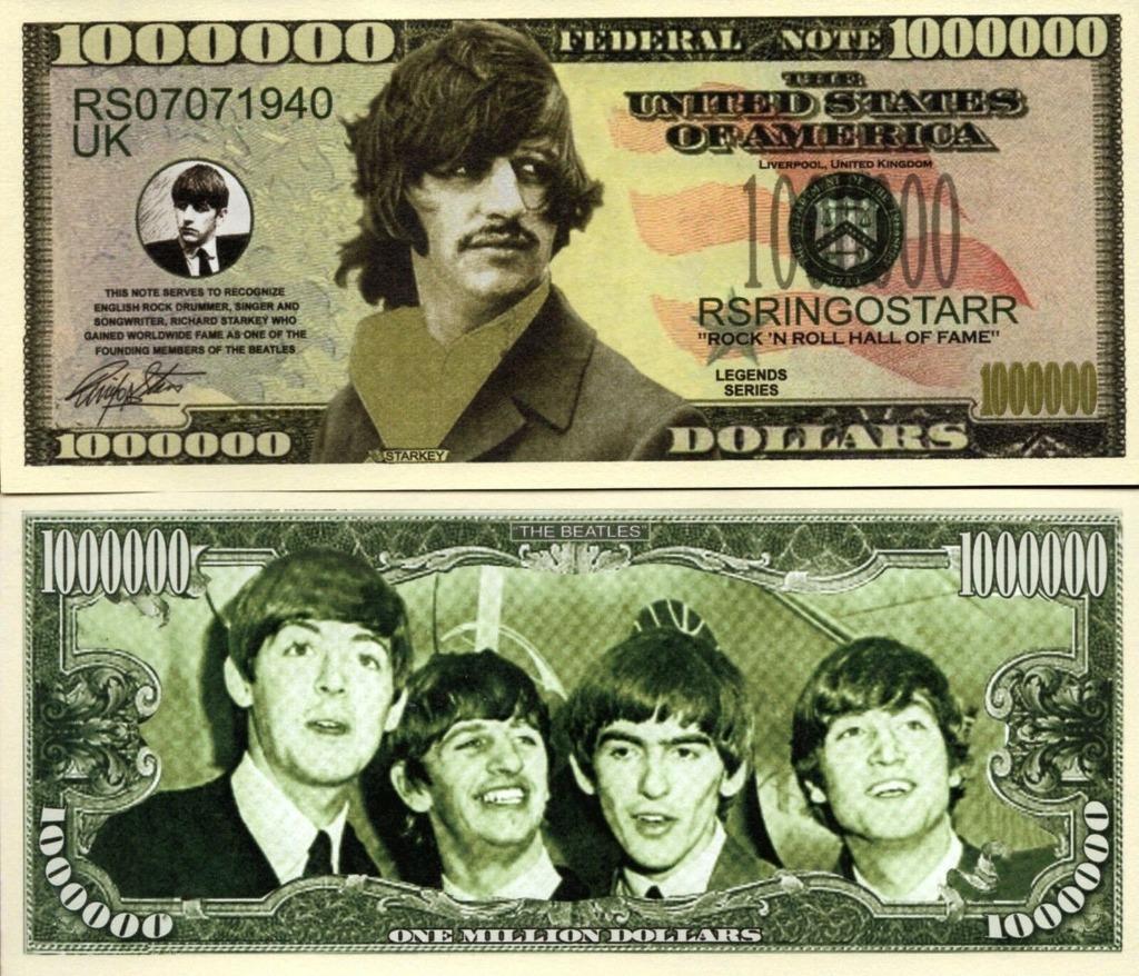RINGO STARR The Beatles milion dolarów banknot