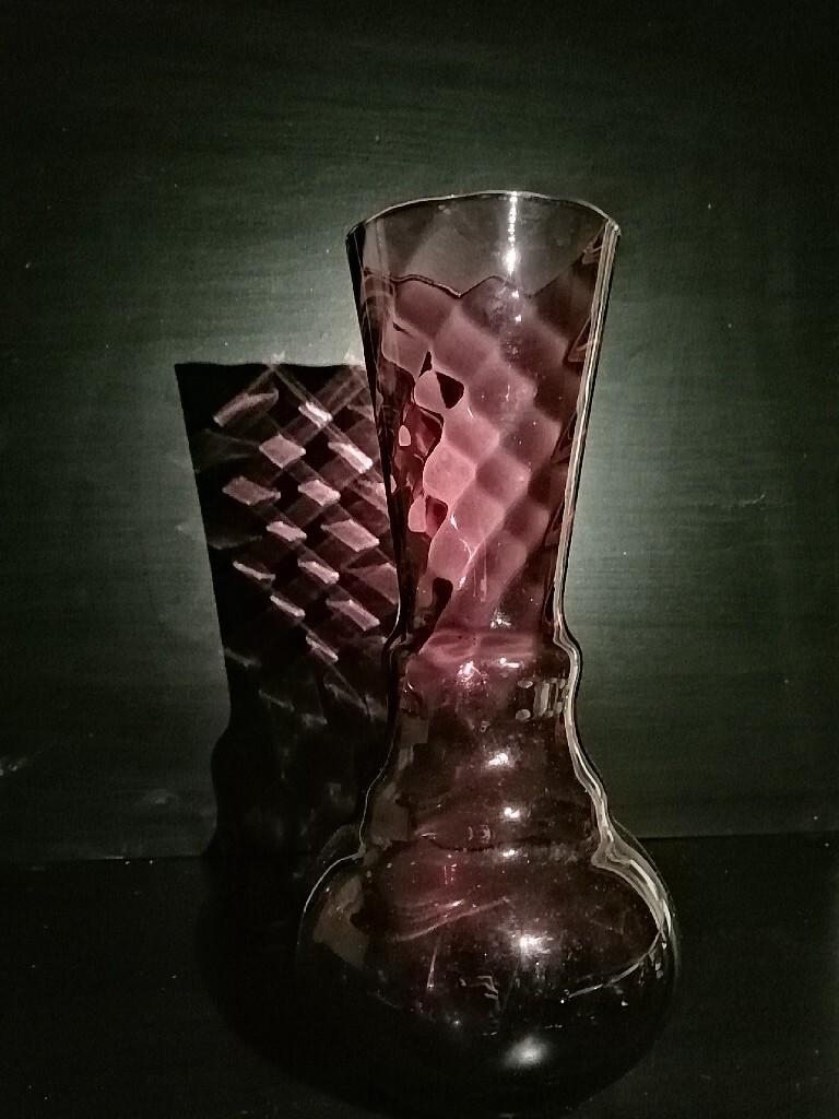 Piekny fioletowy wazon prl
