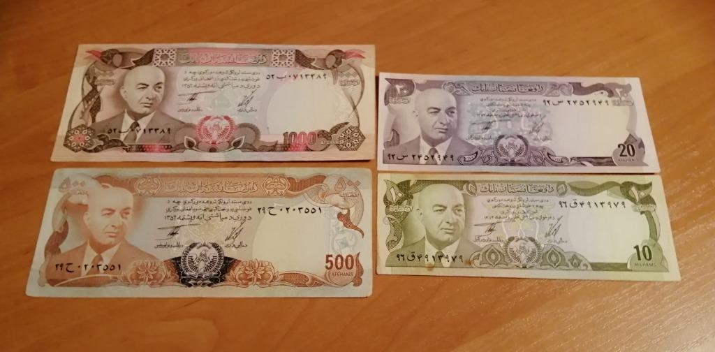 Zestaw 4 banknotów Afgani z lat 70 -tych!!
