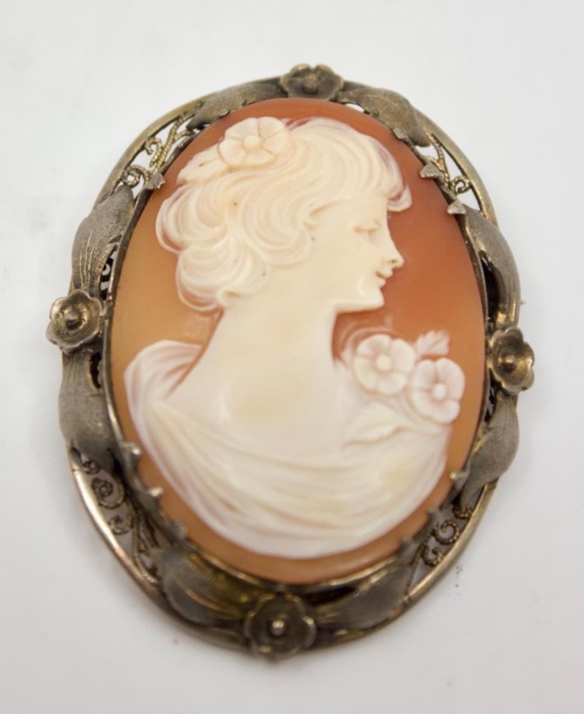 Kamea broszka srebro 800 XIX/ XX w