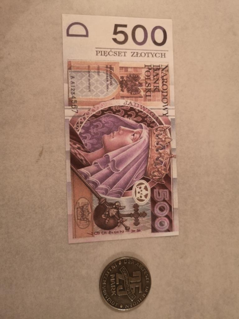 Starocie wykopki zestaw banktot +moneta