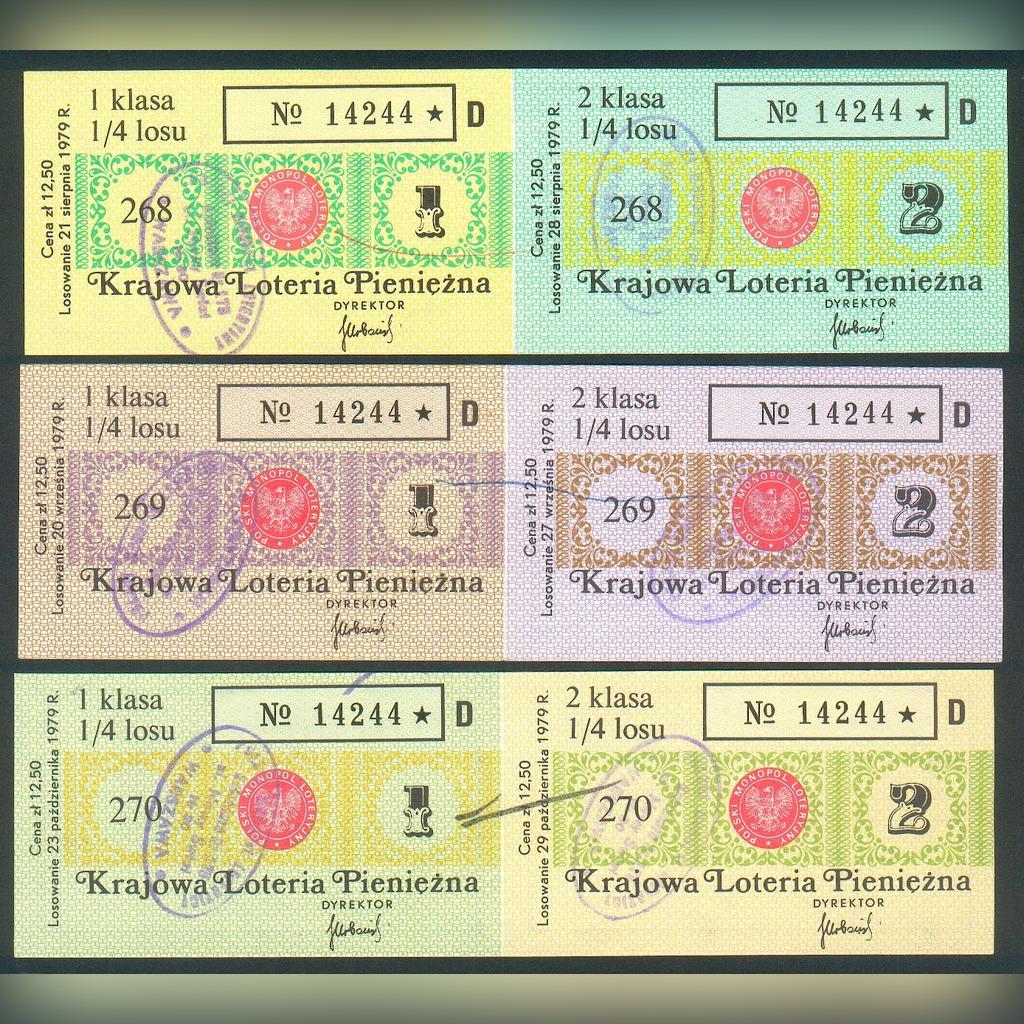 6 Losów nr 268-70 Krajowa Loteria Pieniężna - 1979