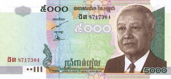 Камбоджа 5000 риелей использованная банкнота