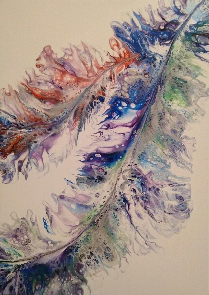 Obraz akrylowy 50 x 70 pióra tęczowe pouring tęcza