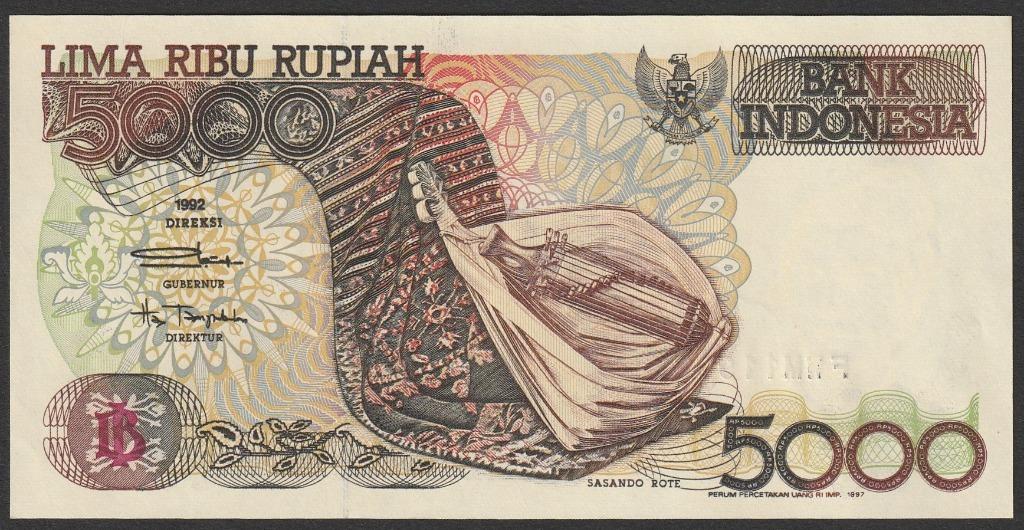Indonezja 5000 rupiah 1992 - stan bankowy UNC