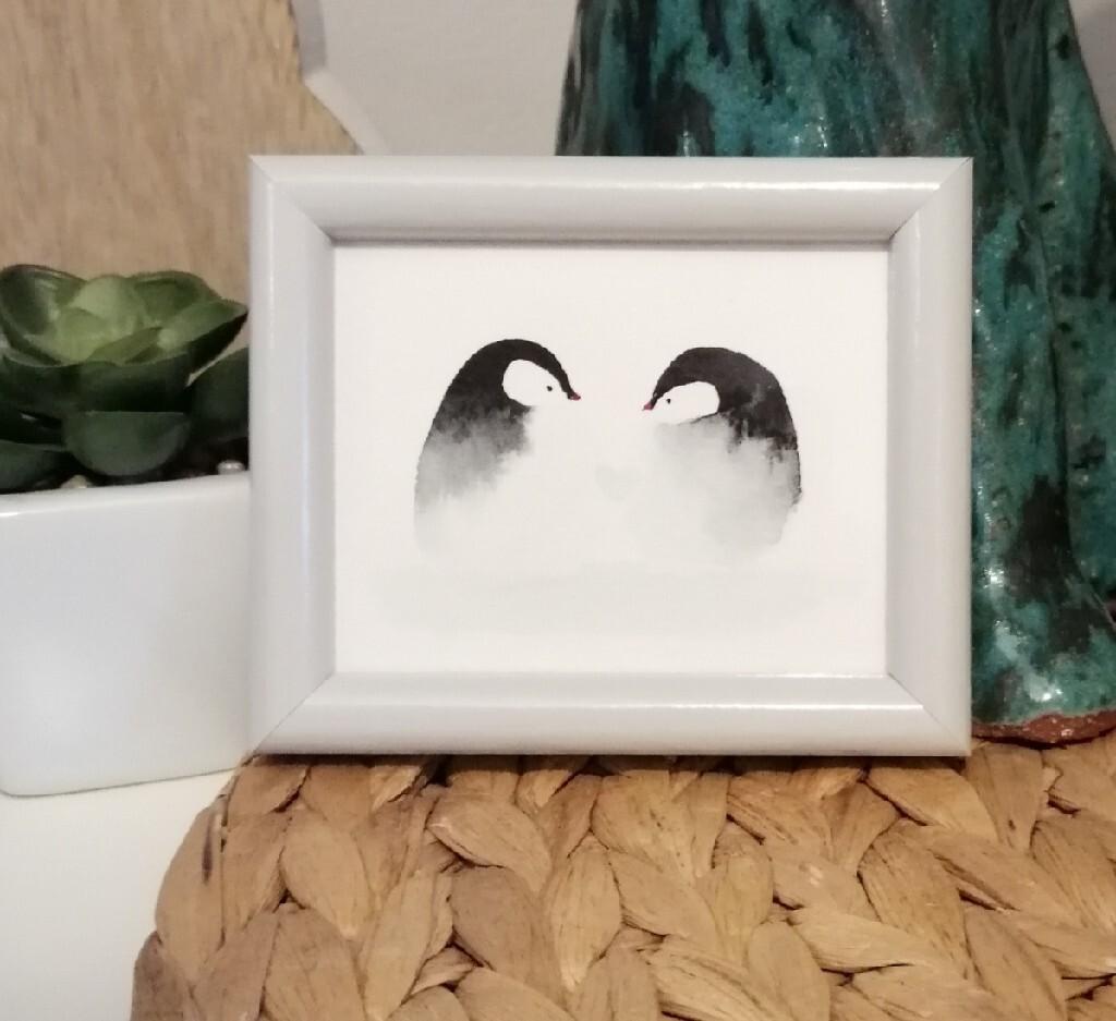 Obrazek akwarela pingwiny