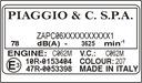 Piaggio - табличка наклейка наомінальна