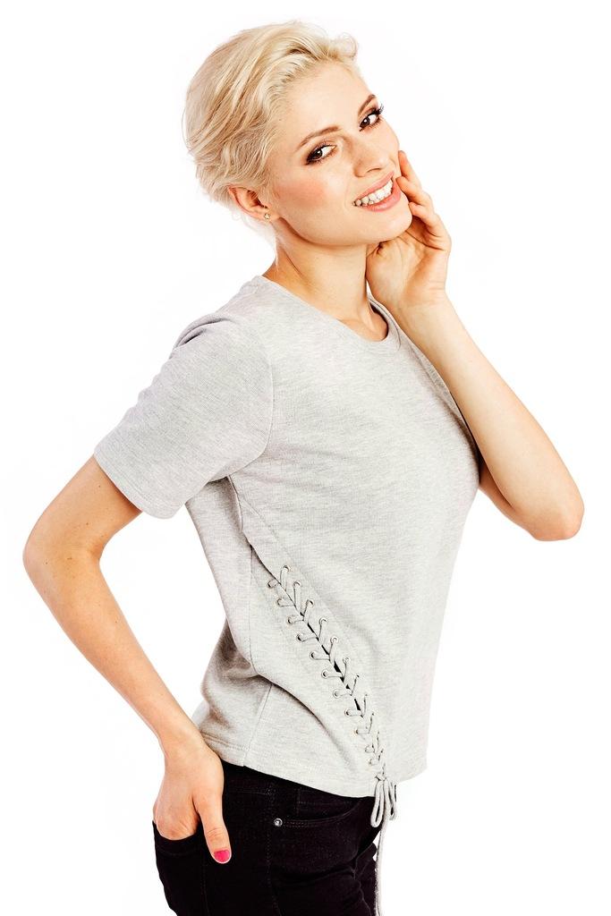 Bluzka z krótkim rękawem ONLY onlKALUKA S/S TOP JRS 15125044 szary M