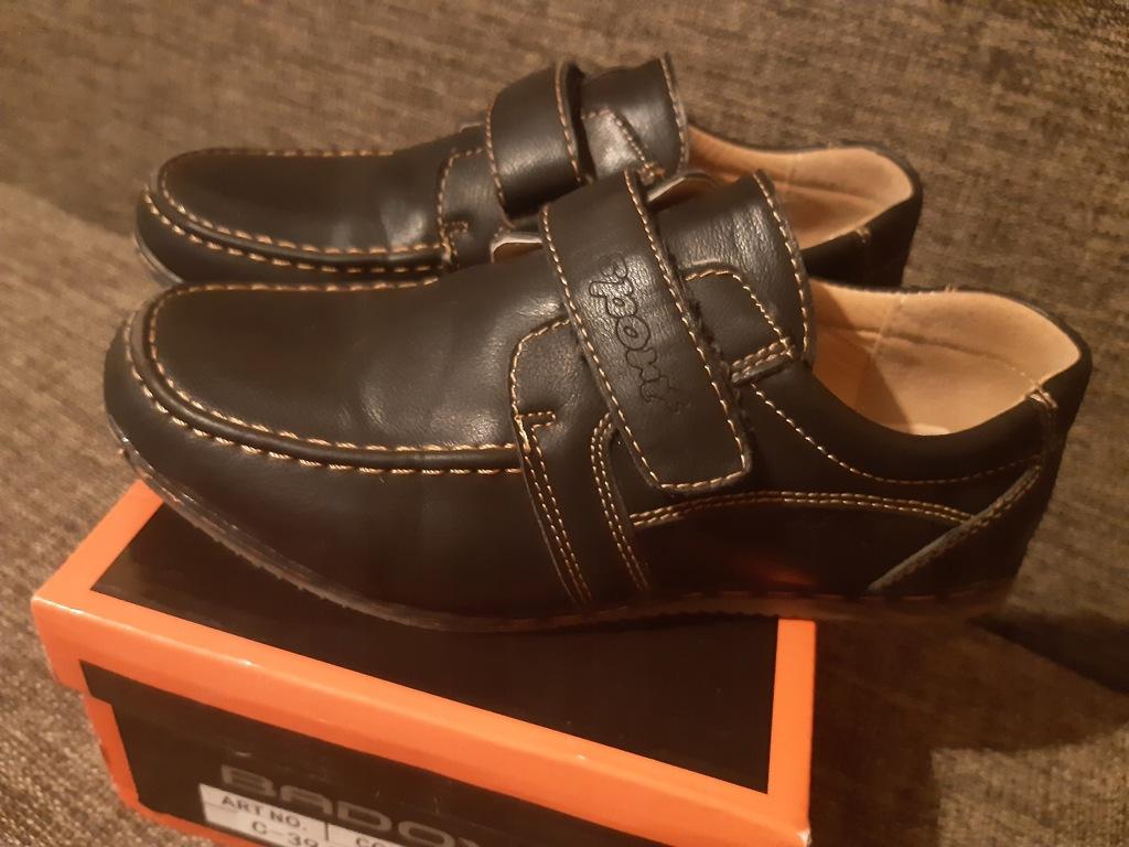 Buty pantofle roz 34 mokasyny rzepy komunia