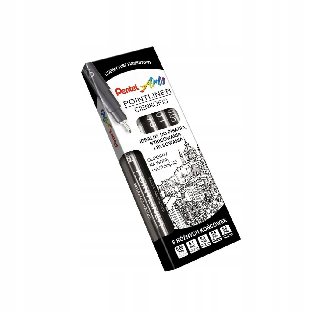 Cienkopisy POINTLINER Pentel tusz pigmentowym 5
