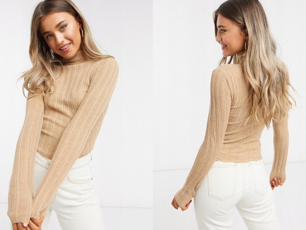 DESIGN Camelowy prążkowany sweter z golfem XXS