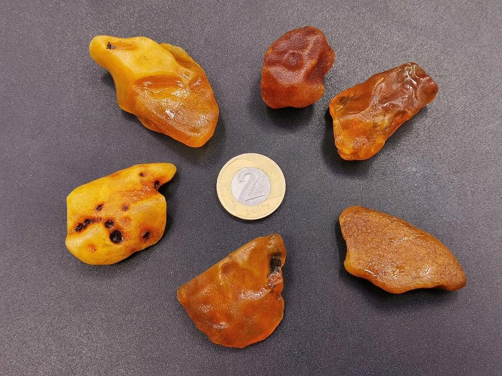Bursztyn bałtycki surowe bryłki zestaw 35,1g