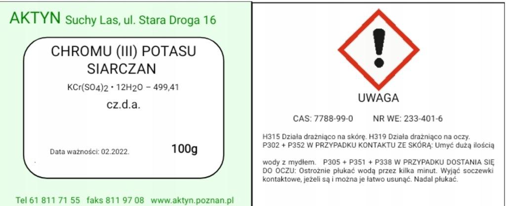 Siarczan Potasu Chromu(III) 12-hydrat 100g.
