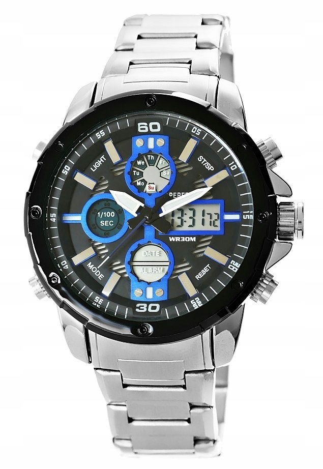 Zegarek Męski Perfect A8026B-3 Dual Time Iluminacj