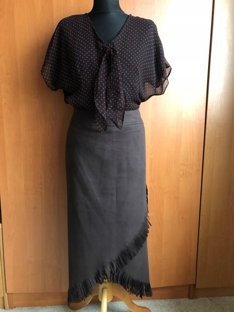 2cz. Spódnica asymetria frędzle+bluzka 40/42/44