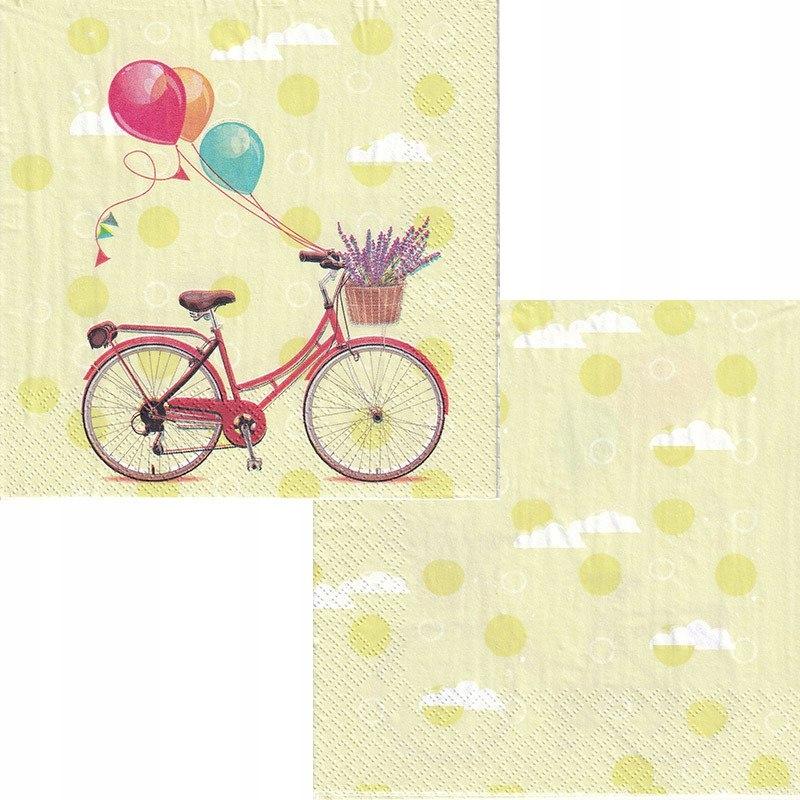 Serwetka do decoupage 33x33cm - rower balony