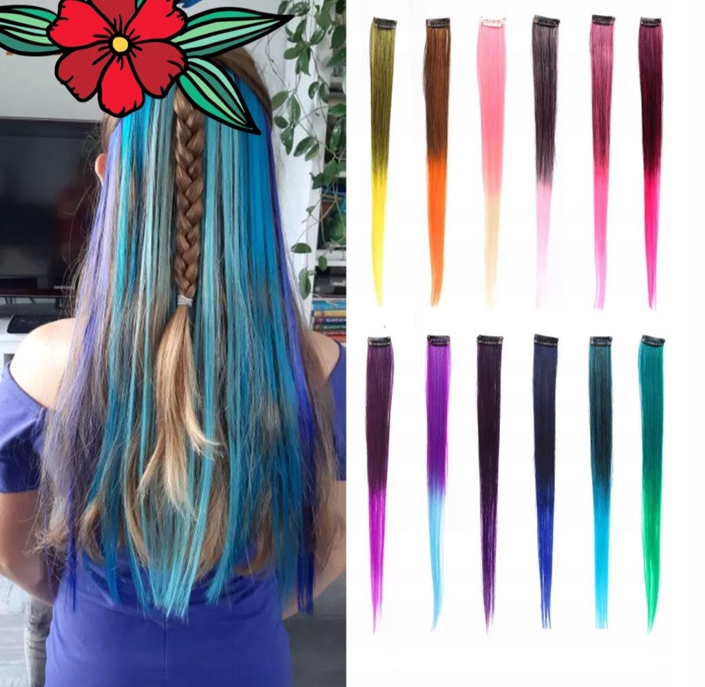 Pasma kolorowych włosów syntetycznych