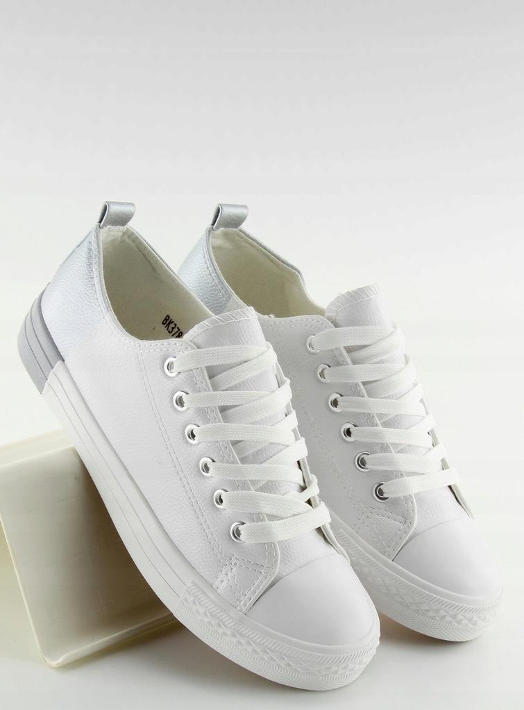 Trampki dwukolorowe białe 38 Płaski buty okazja