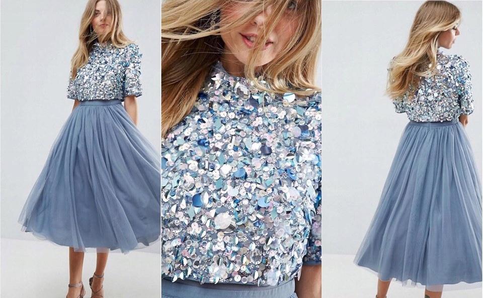 AS0S niebieska midi sukienka zdobiona tiul 36 S
