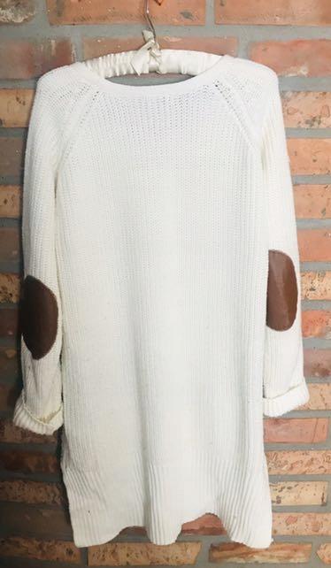 Sweter 38 łaty sukienka dzianinowa warkocz bezowy