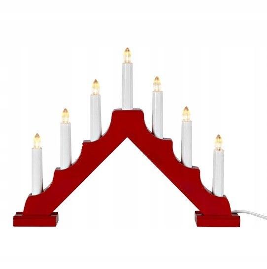Świecznik adwentowy czerwony ANGEL LED 37 cm święt