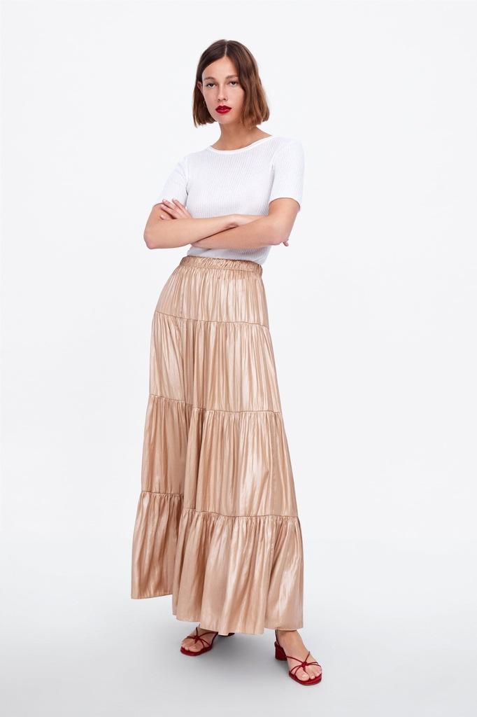 Zara długa spódnica z falbankami M L